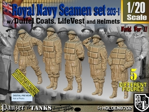 1/20 Royal Navy D-Coat+Lifevst Set203-1 in White Natural Versatile Plastic