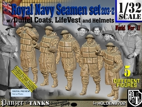 1/32 Royal Navy D-Coat+Lifevst Set203-2 in White Natural Versatile Plastic