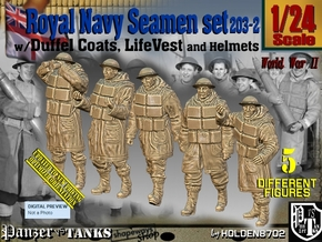 1/24 Royal Navy D-Coat+Lifevst Set203-2 in White Natural Versatile Plastic