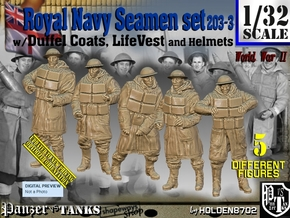 1/32 Royal Navy D-Coat+Lifevst Set203-3 in White Natural Versatile Plastic
