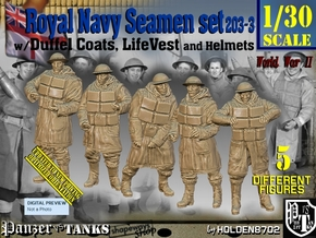 1/30 Royal Navy D-Coat+Lifevst Set203-3 in White Natural Versatile Plastic