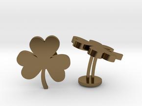 Shamrock 3 Leaf Clover Lucky Wedding Cufflinks in Polished Bronze