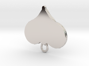 Small Knot Heart Pendant in Rhodium Plated Brass