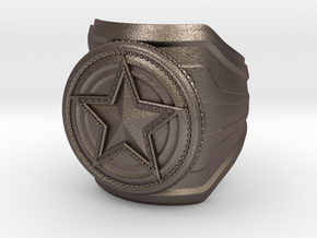 CS:GO Service Medal Ring - wide band in Polished Bronzed Silver Steel