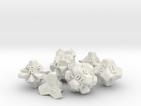 Brutalist Dice Set — Version 2 (7 pc.) in White Natural Versatile Plastic