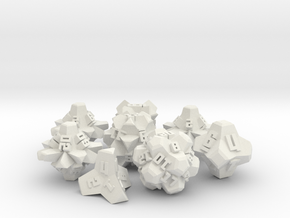 Brutalist Dice Set — Version 2 (8 pc.) in White Natural Versatile Plastic