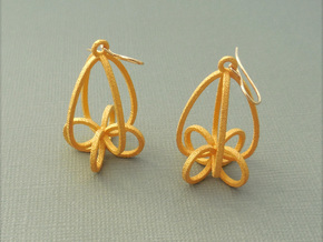 Finials - Pair of Earrings in Metal in Polished Gold Steel