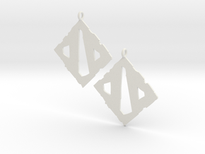 Dota II Earrings in White Natural Versatile Plastic