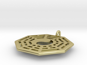 Yin Yang Small Pendant with Fuxi Bagua in 18k Gold Plated Brass
