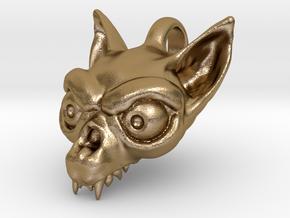 Bat Skull in Polished Gold Steel