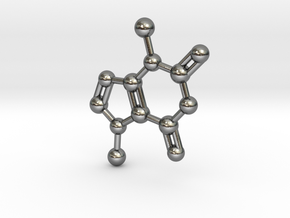 Theobromine Molecule Necklace Keychain BIG in Polished Silver