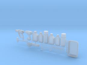 Oil bottles & tools 1-12 in Smooth Fine Detail Plastic
