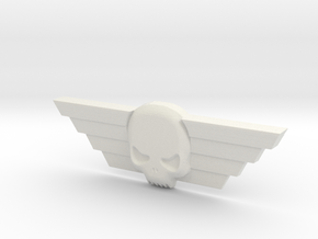 Winged Skull Imperial Guard Badge 40k 8.3cm in White Natural Versatile Plastic