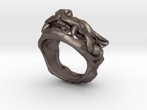"Fu Dog (Komainu) ""a"" Ring in Polished Bronzed Silver Steel: 7 / 54"