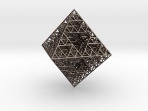 Wire Sierpinski Octahedron in Polished Bronzed Silver Steel