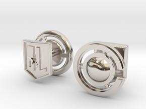 Cyborg cufflinks in Rhodium Plated Brass