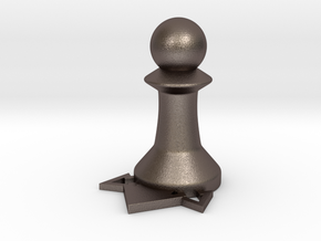 Instructional Chess Set - Pawn in Polished Bronzed Silver Steel: Large