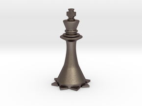 Instructional Chess Set - King in Polished Bronzed Silver Steel: Large