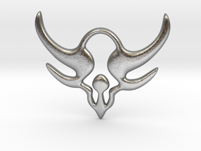 """Horns of power"" Pendant in Natural Silver"