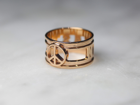 Namaste w/ Peace Sign Charm, 14k Rose Gold Plated in 14k Rose Gold Plated Brass: 6 / 51.5