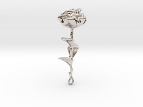 Rose in Rhodium Plated Brass
