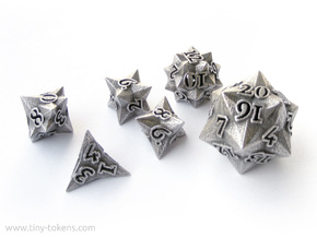 Faceted - polyhedral 6 dice set in Polished Bronzed Silver Steel