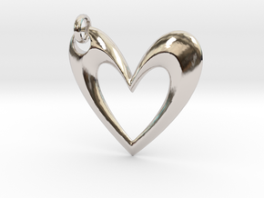Simple Heart V in Rhodium Plated Brass