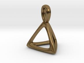 Tetrahedron Platonic Solid Pendant in Natural Bronze