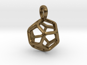 Dodecahedron Platonic Solid Pendant in Natural Bronze