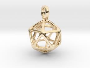 Icosahedron Platonic Solid Pendant in 14K Yellow Gold