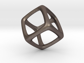 Hexahedron Platonic Solid  in Polished Bronzed Silver Steel