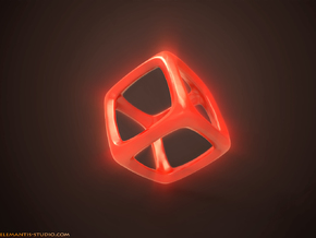 Hexahedron Platonic Solid  in Red Processed Versatile Plastic