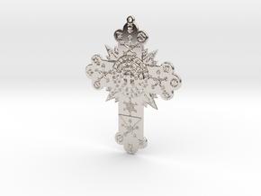 GD Rose Cross Lamen in Rhodium Plated Brass: Small
