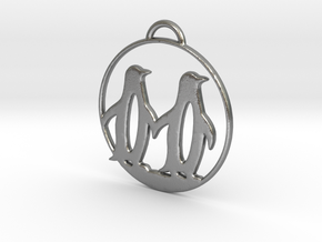 Penguins Couple H Necklace in Natural Silver