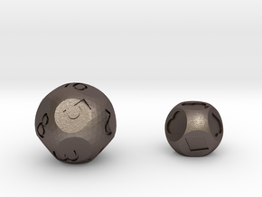 d13 & d8 Card Dice set in Polished Bronzed Silver Steel