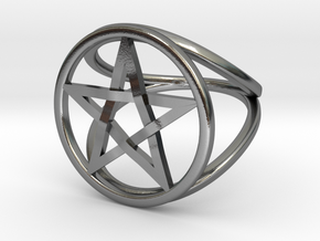 Pentacle ring - crossing in Polished Silver: 7.5 / 55.5