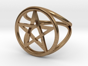 Pentacle ring - crossing in Natural Brass: 7.5 / 55.5