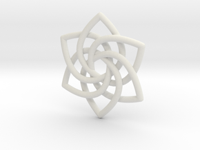 6 Pointed Celtic Knot Pendant in White Natural Versatile Plastic