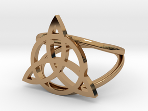 Triquetra ring in Polished Brass: 7 / 54