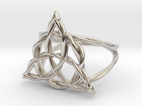 Woven triquetra ring in Rhodium Plated Brass: 6 / 51.5