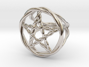Pentacle ring - braided in Rhodium Plated Brass: 6 / 51.5