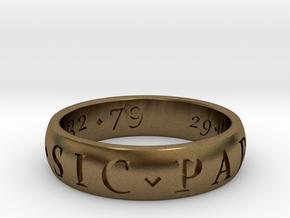 Size 11.5 Sir Francis Drake, Sic Parvis Magna Ring in Natural Bronze