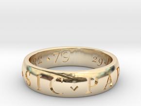 Size 11.5 Sir Francis Drake, Sic Parvis Magna Ring in 14K Yellow Gold