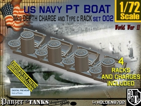 1/72 PT Boat Depth Charge w Rack Set002 in Smooth Fine Detail Plastic