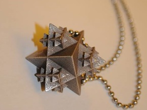 Tetrahedron Fractal Pendant in Polished Bronzed Silver Steel