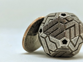 Cacography - D20 in Polished Bronzed Silver Steel