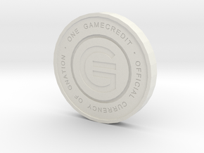 Physical Game Credits Coin thin model in White Natural Versatile Plastic