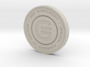 Physical Game Credits Coin thin model in Natural Sandstone