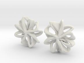 linked petals studs in White Natural Versatile Plastic