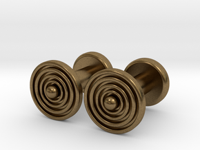 Geometric, Minimalistic Men's Circular Cufflinks in Natural Bronze